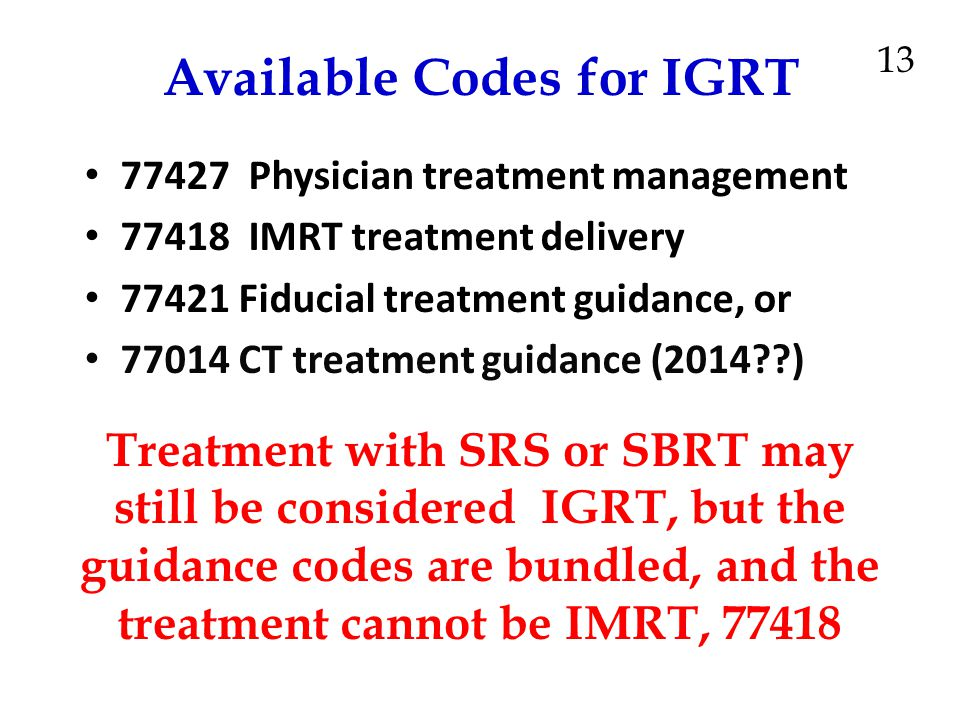 Available Codes for IGRT
