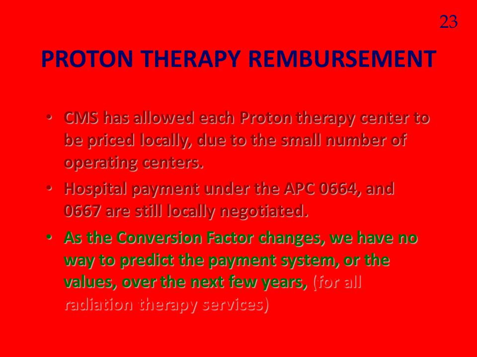 PROTON THERAPY REMBURSEMENT