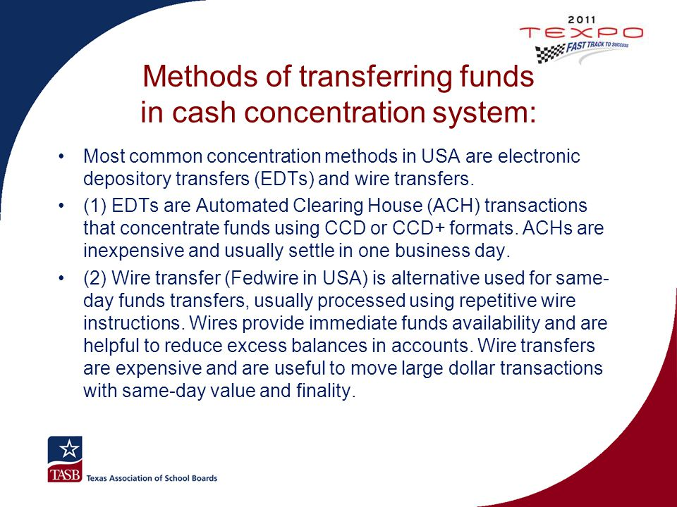 Methods of transferring funds in cash concentration system: