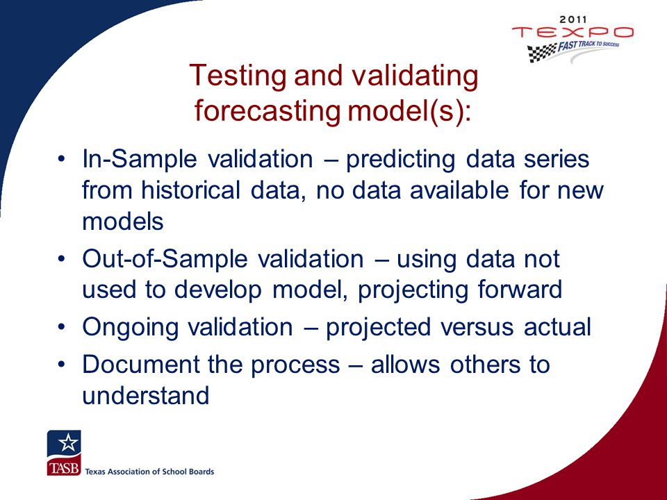 Testing and validating forecasting model(s):