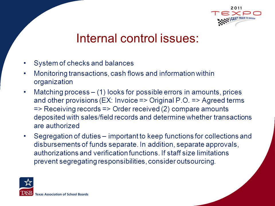 Internal control issues: