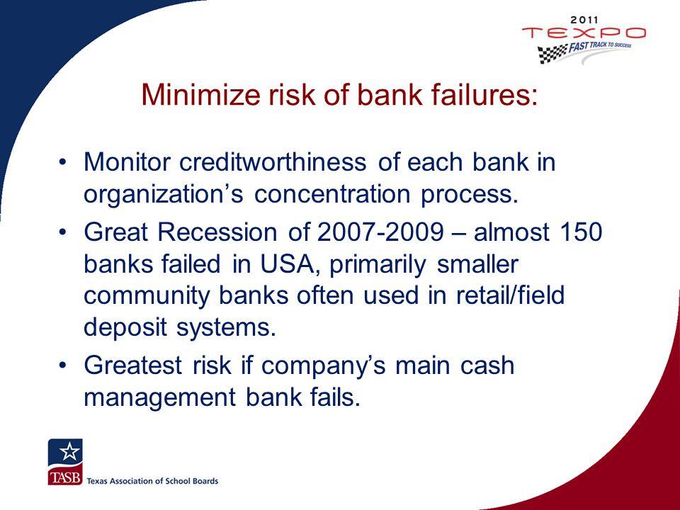 Minimize risk of bank failures: