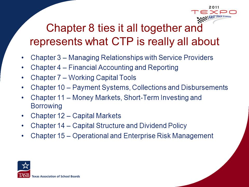 Chapter 8 ties it all together and represents what CTP is really all about