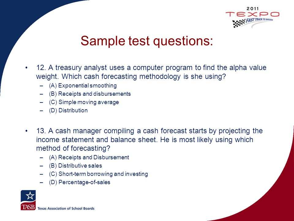 Sample test questions: