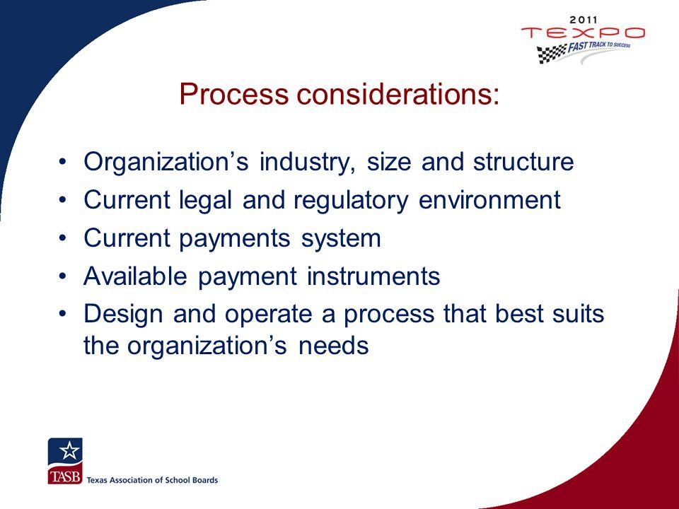 Process considerations: