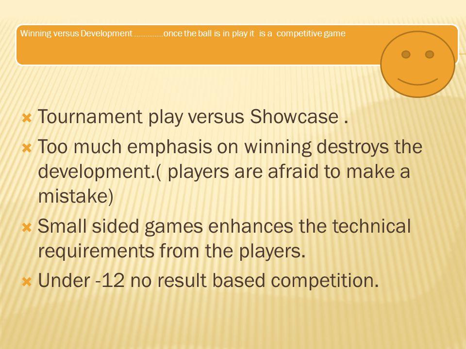 Tournament play versus Showcase .