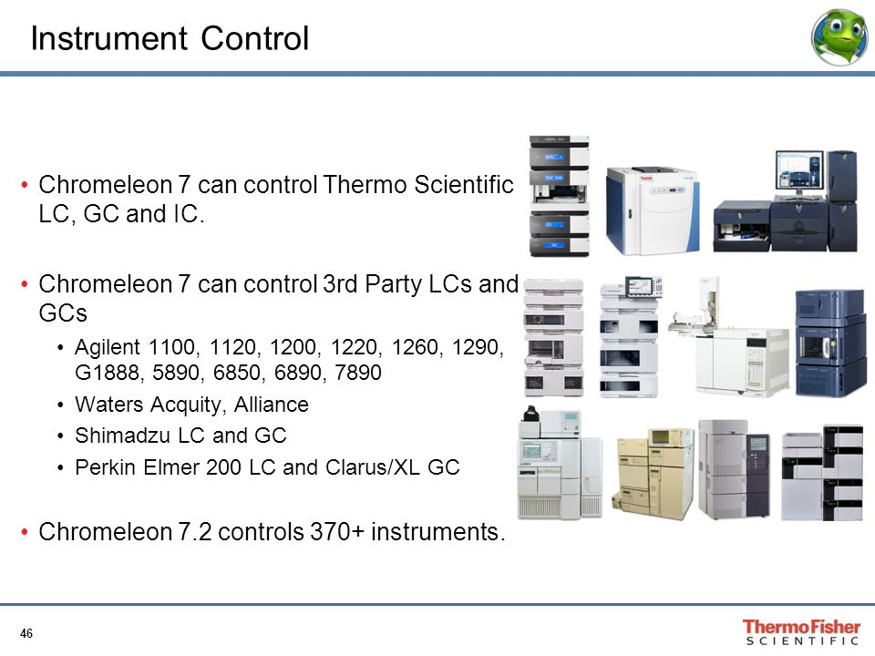 Instrument Control Chromeleon 7 can control Thermo Scientific LC, GC and IC. Chromeleon 7 can control 3rd Party LCs and GCs.