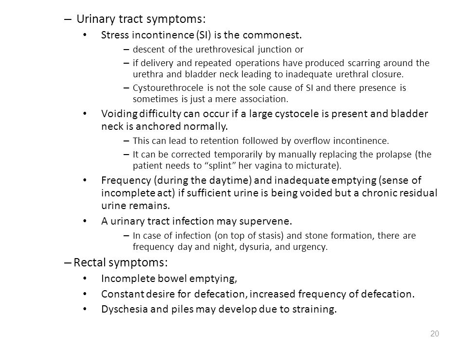 Urinary tract symptoms: