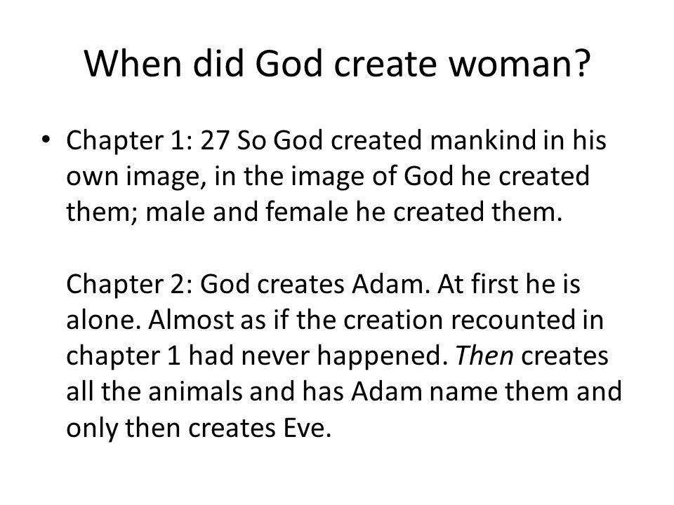 When did God create woman