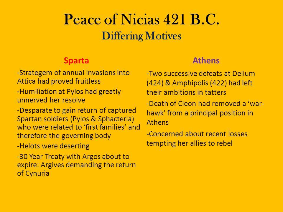 Peace of Nicias 421 B.C. Differing Motives