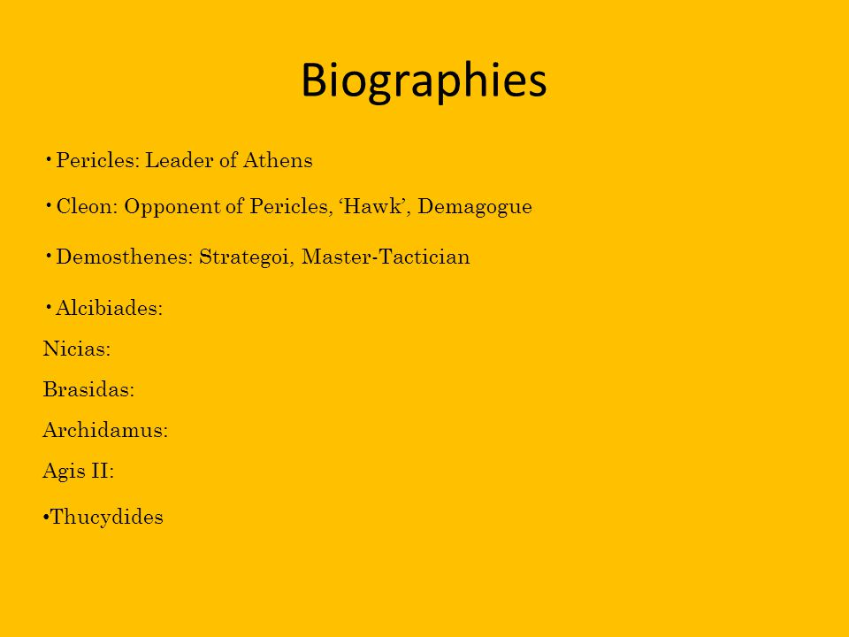 Biographies Pericles: Leader of Athens