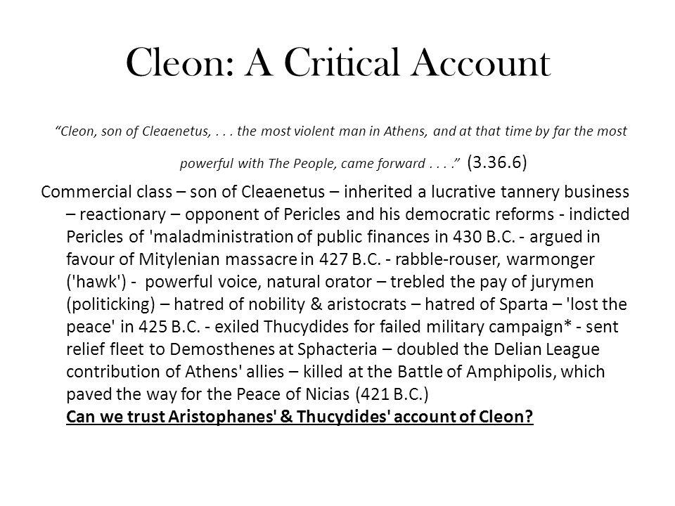 Cleon: A Critical Account