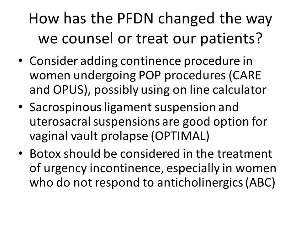How has the PFDN changed the way we counsel or treat our patients
