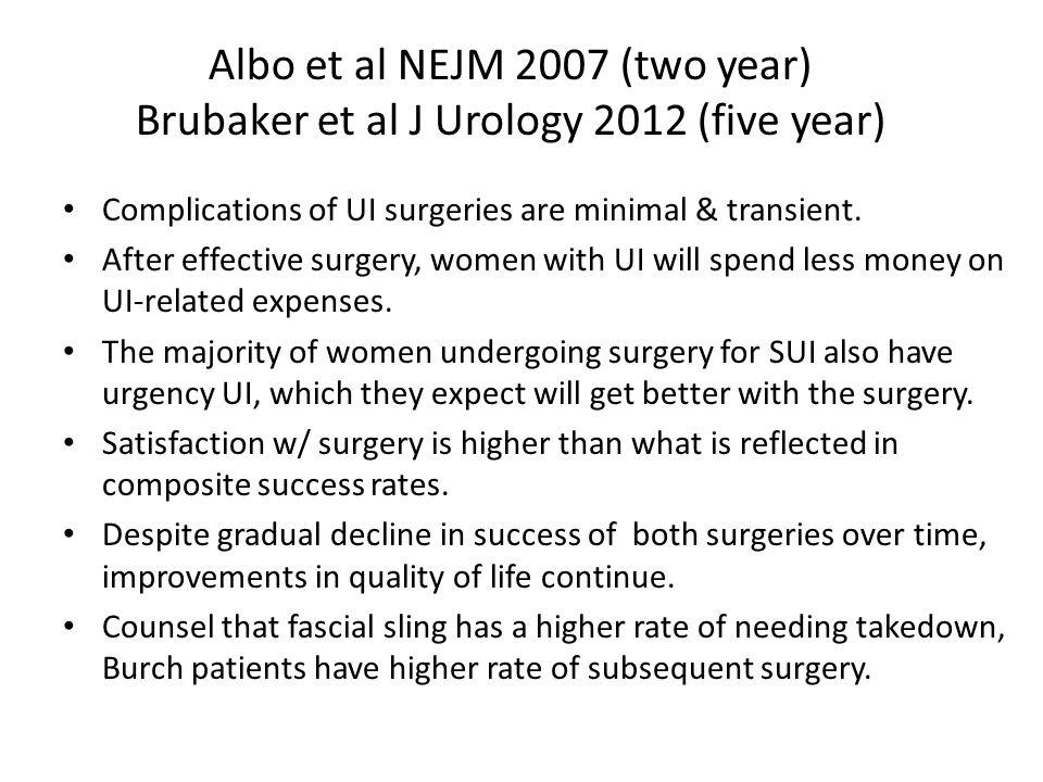 Albo et al NEJM 2007 (two year) Brubaker et al J Urology 2012 (five year)