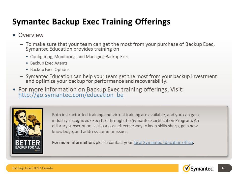 Symantec Backup Exec Training Offerings