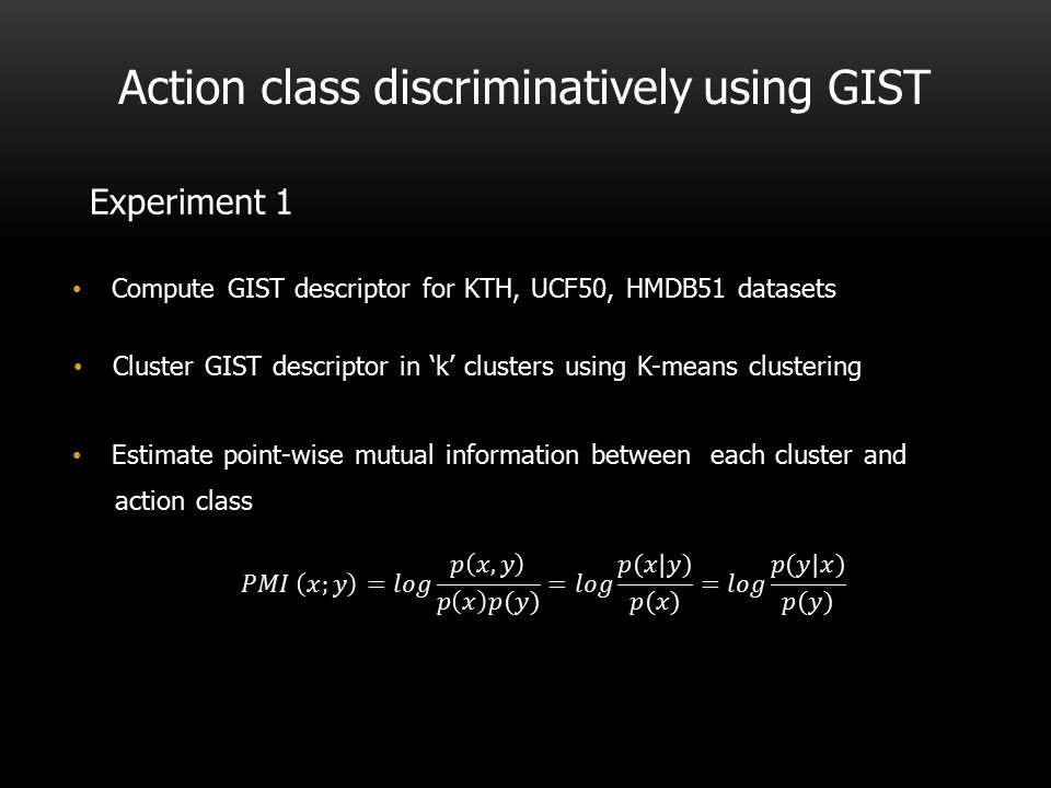 Action class discriminatively using GIST