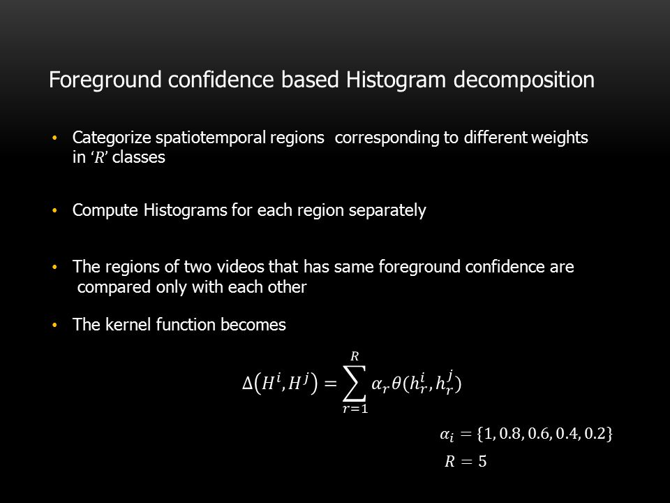 Foreground confidence based Histogram decomposition