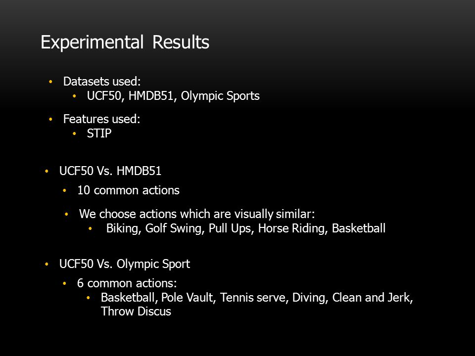 Experimental Results Datasets used: UCF50, HMDB51, Olympic Sports