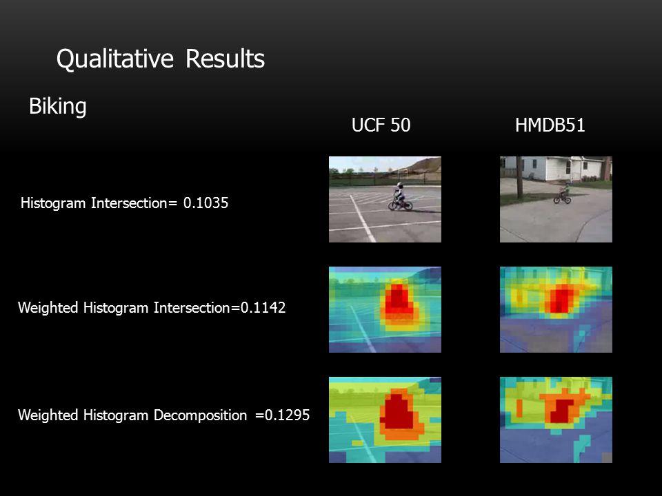 Qualitative Results Biking UCF 50 HMDB51