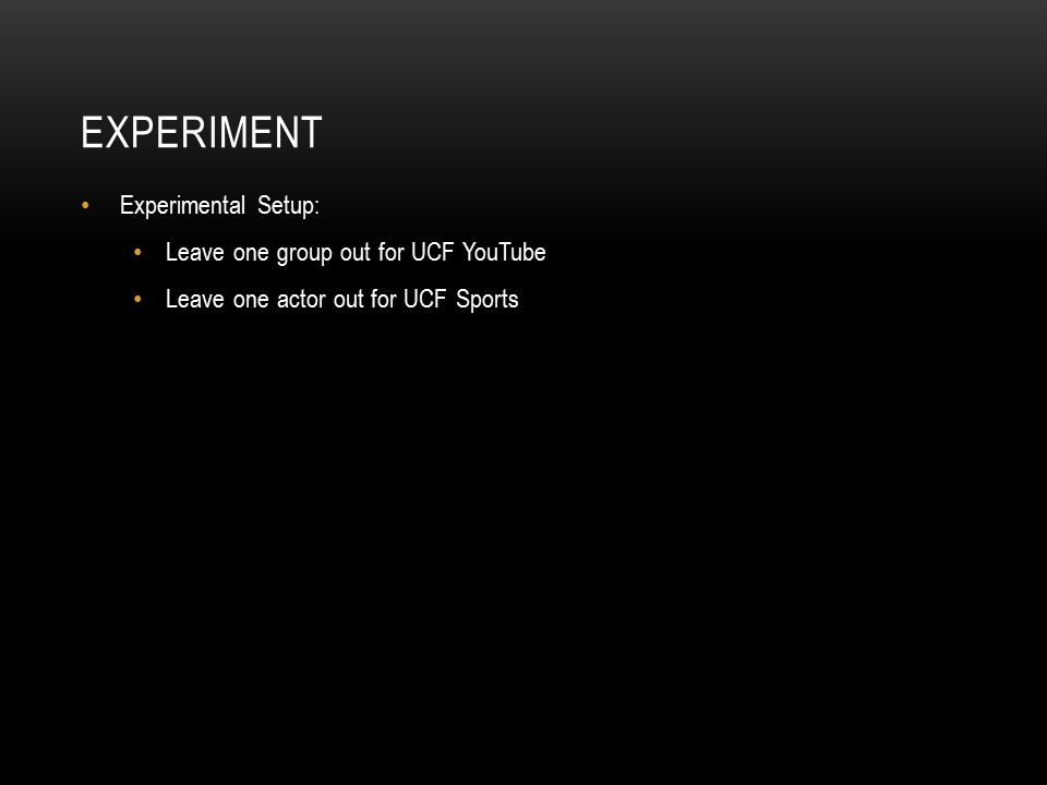 Experiment Experimental Setup: Leave one group out for UCF YouTube