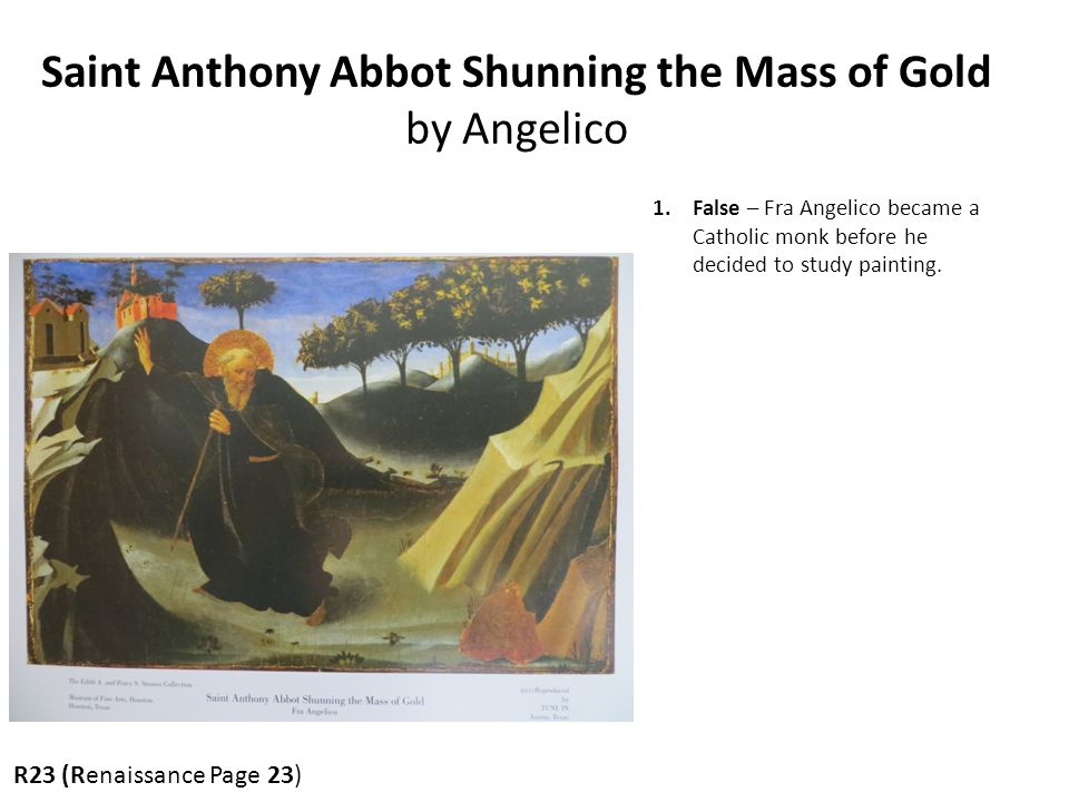 Saint Anthony Abbot Shunning the Mass of Gold by Angelico
