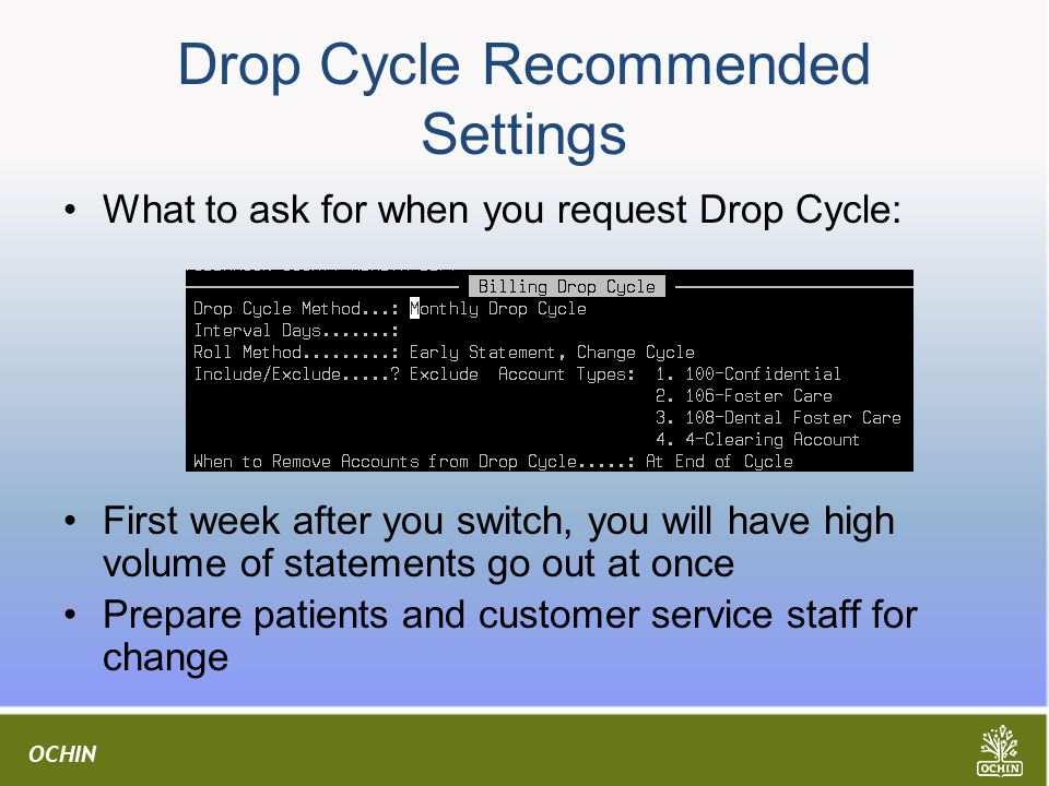 Drop Cycle Recommended Settings