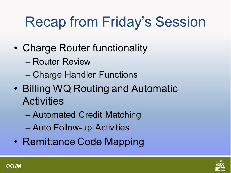 Recap from Friday's Session