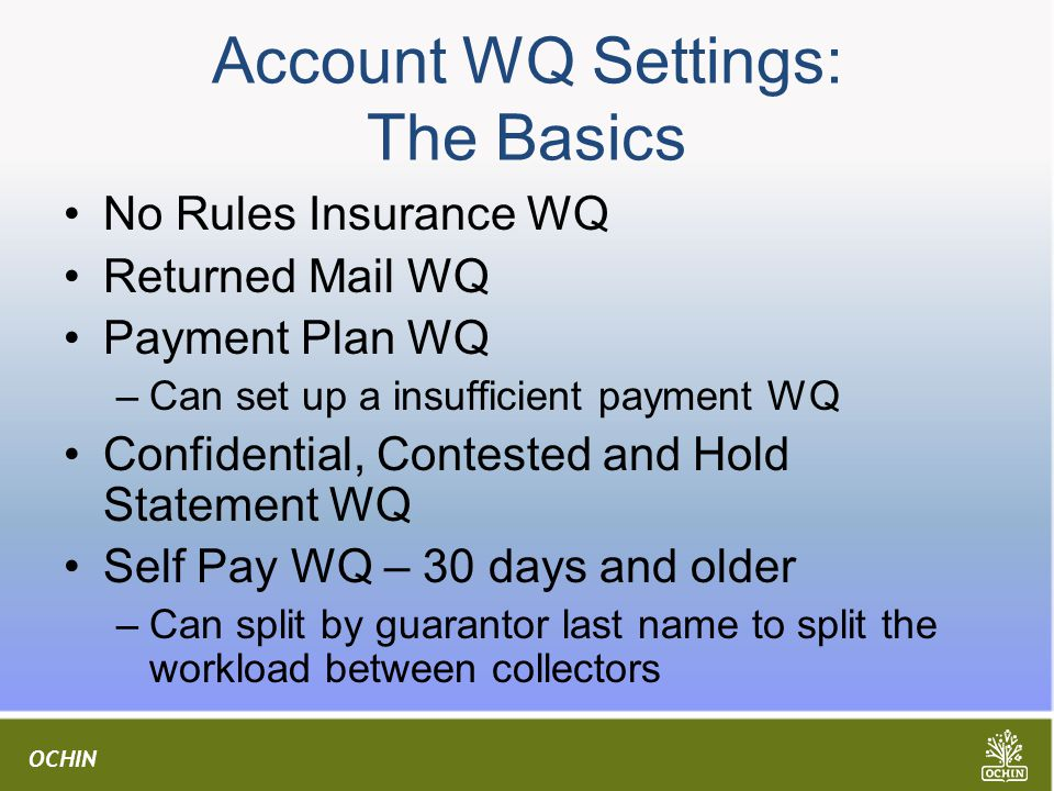 Account WQ Settings: The Basics