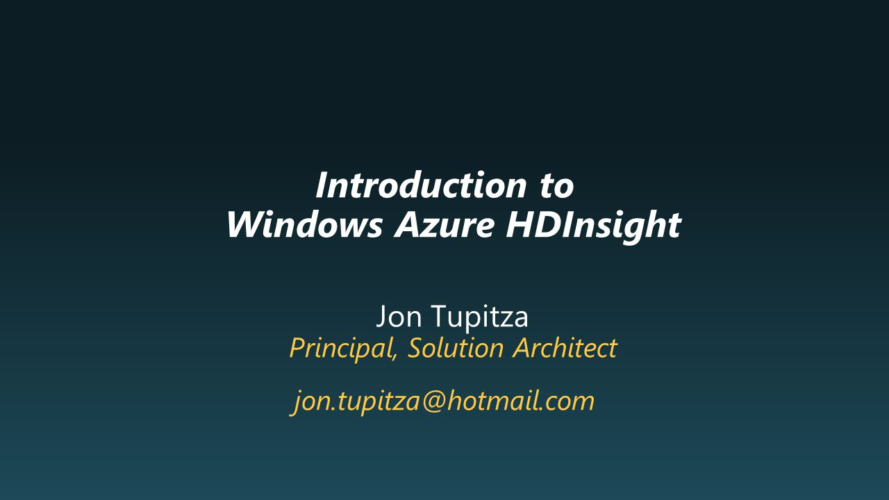 Introduction to Windows Azure HDInsight