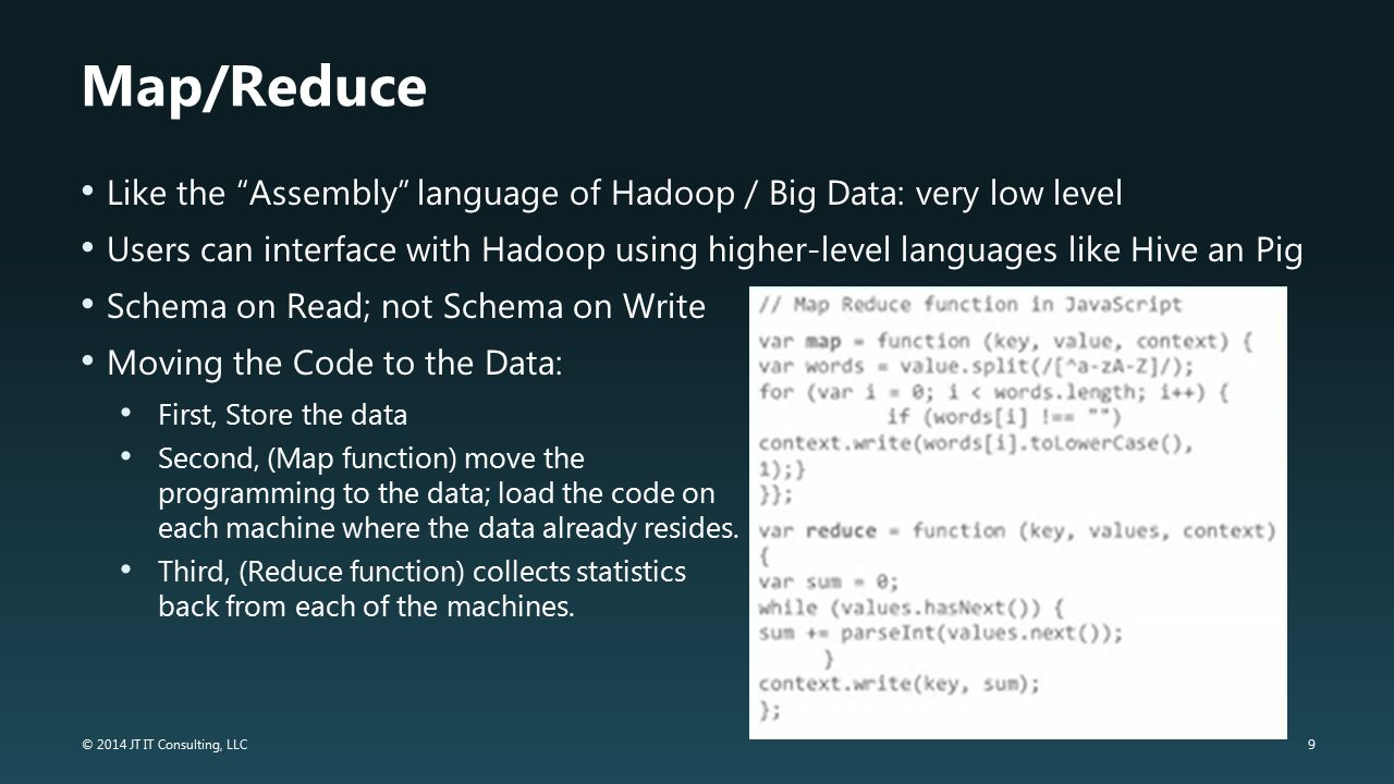 Map/Reduce Like the Assembly language of Hadoop / Big Data: very low level.