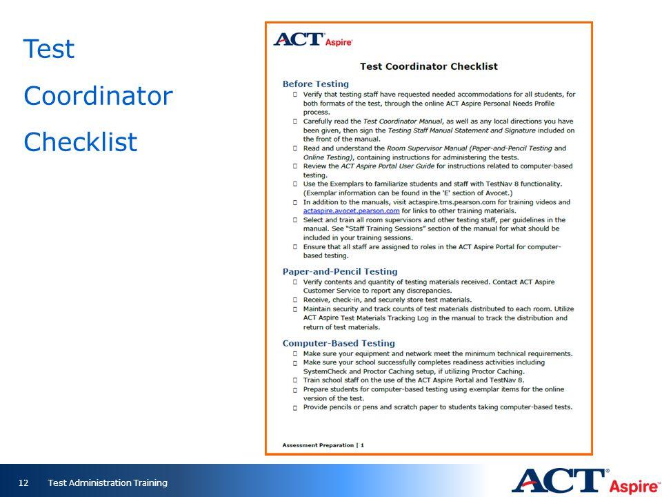 Test Coordinator Checklist