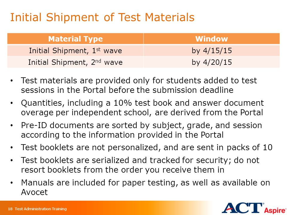 Initial Shipment of Test Materials