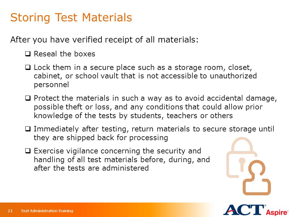 Storing Test Materials