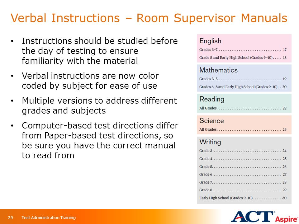 Verbal Instructions – Room Supervisor Manuals
