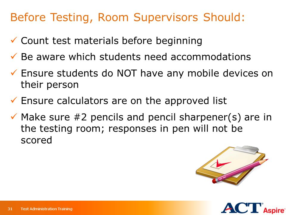 Before Testing, Room Supervisors Should: