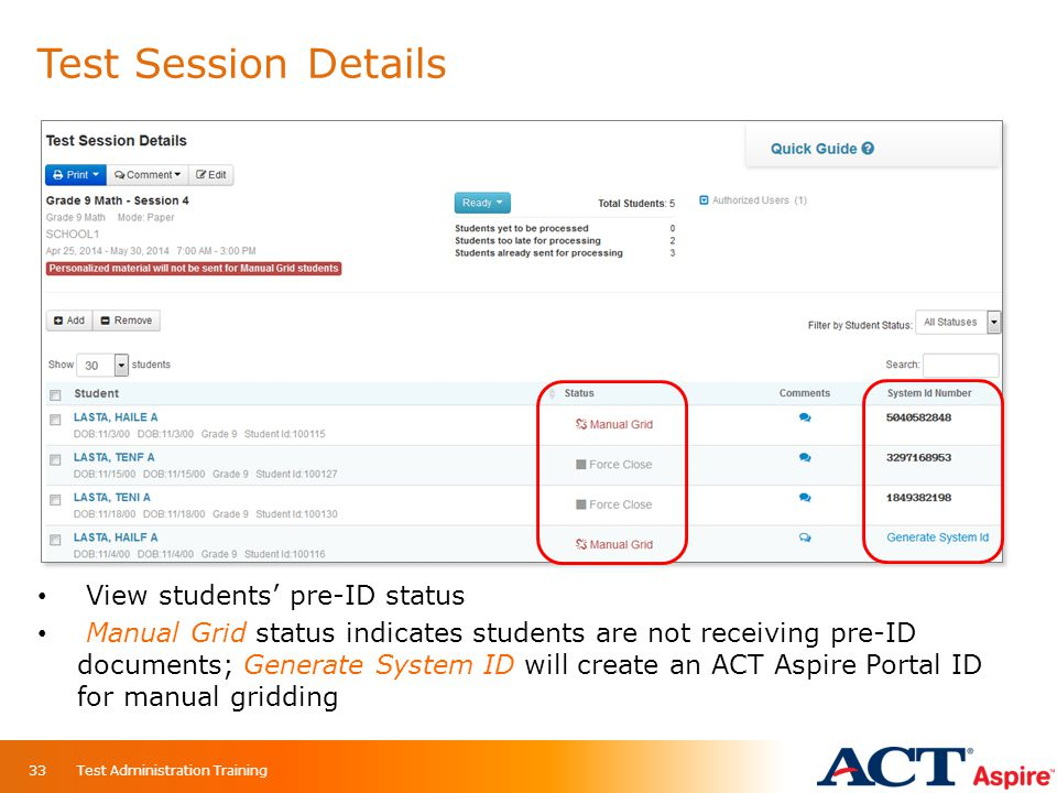Test Session Details View students' pre-ID status