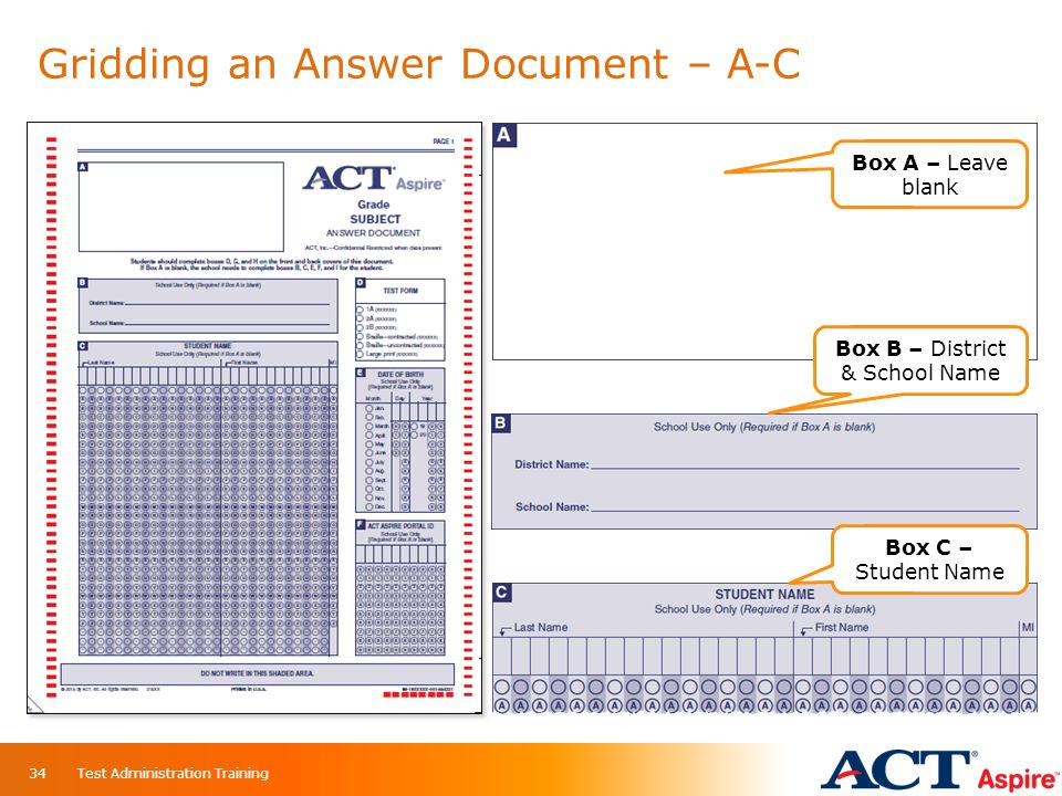Gridding an Answer Document – A-C