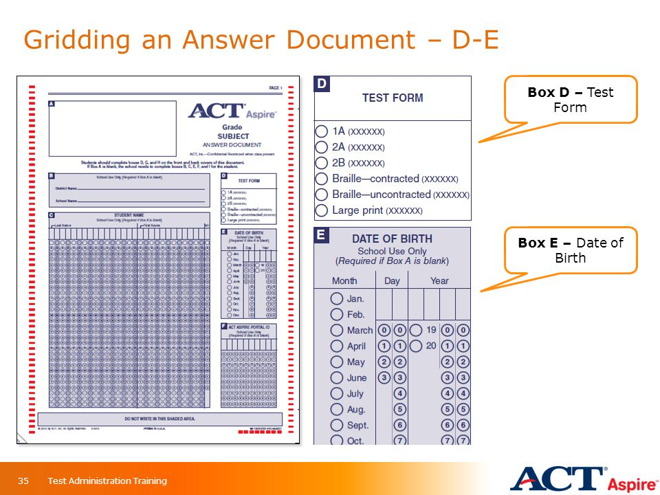 Gridding an Answer Document – D-E