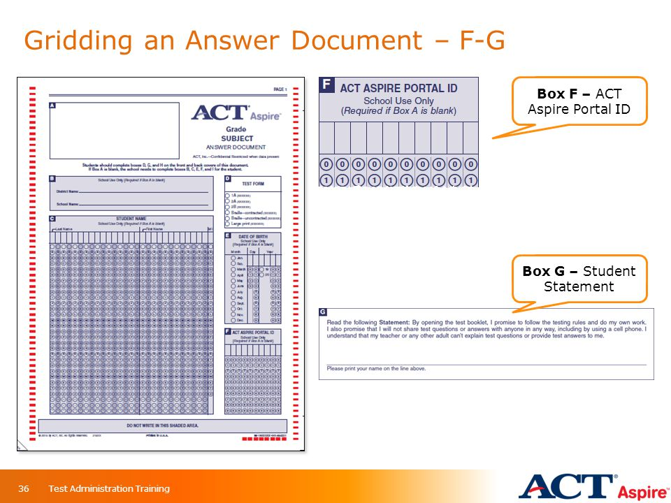Gridding an Answer Document – F-G