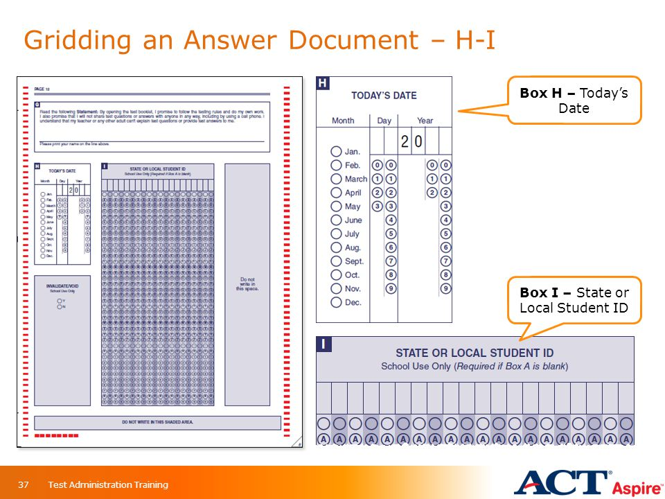 Gridding an Answer Document – H-I