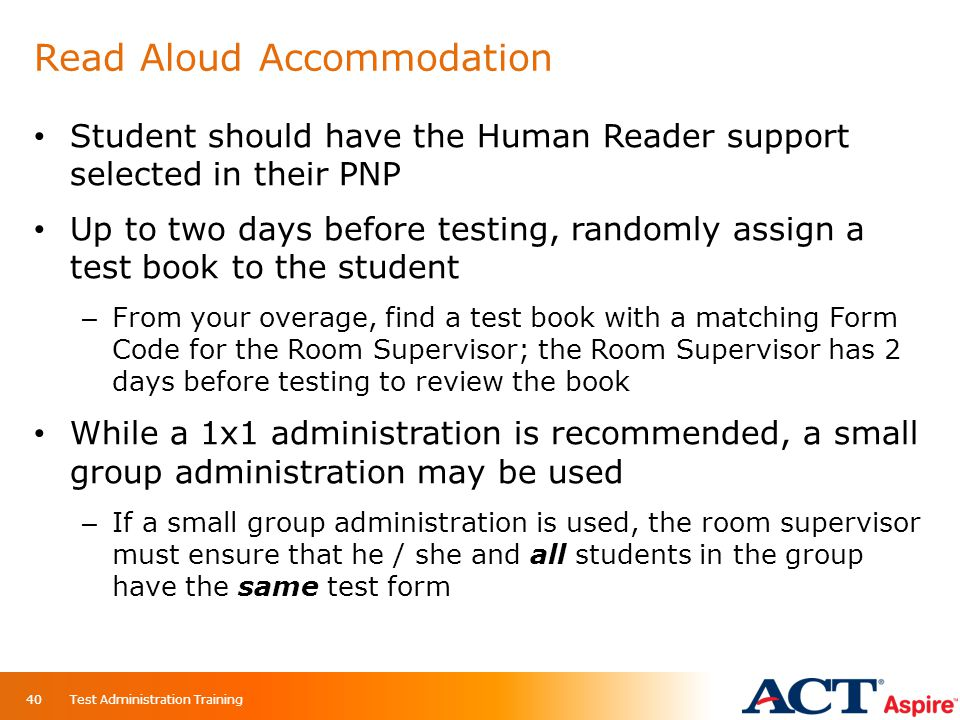 Read Aloud Accommodation