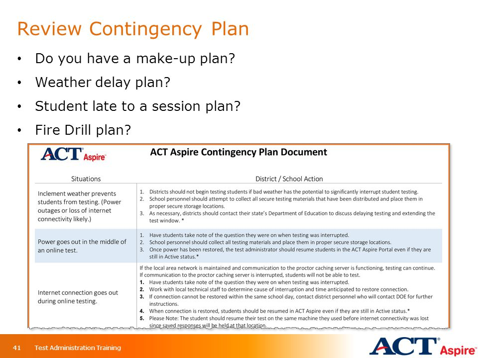 Review Contingency Plan