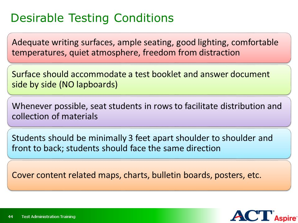 Desirable Testing Conditions