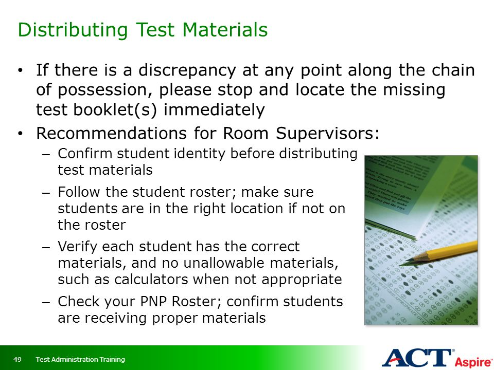 Distributing Test Materials