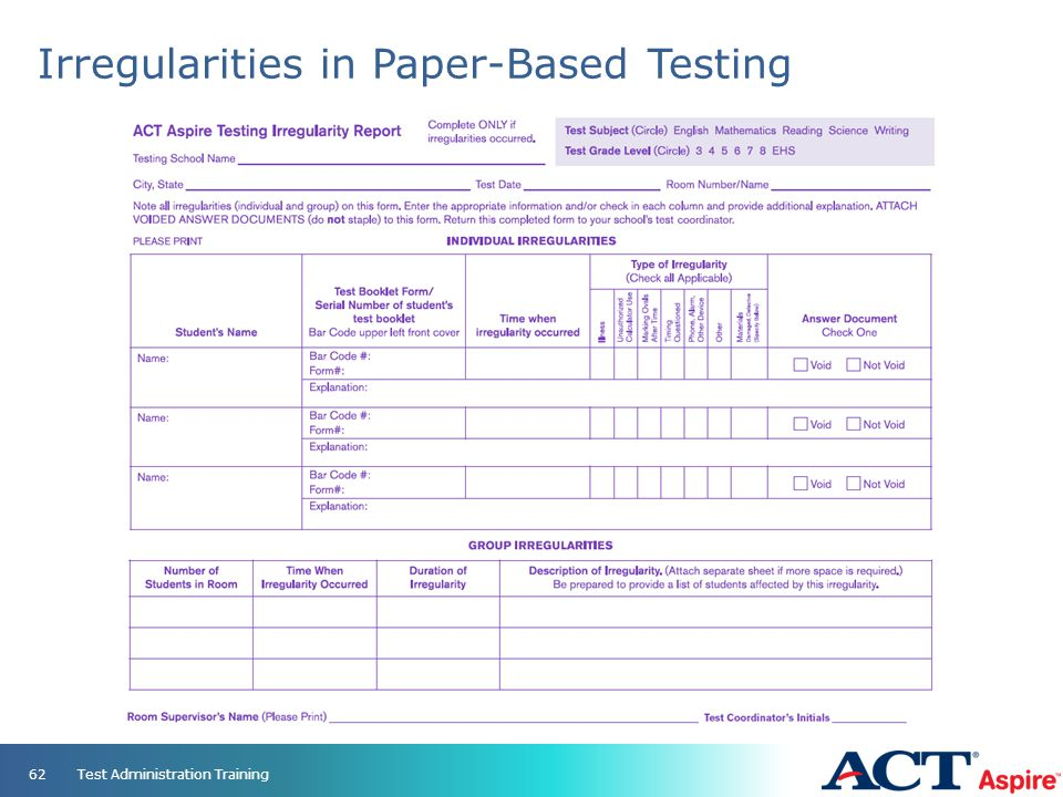 Irregularities in Paper-Based Testing