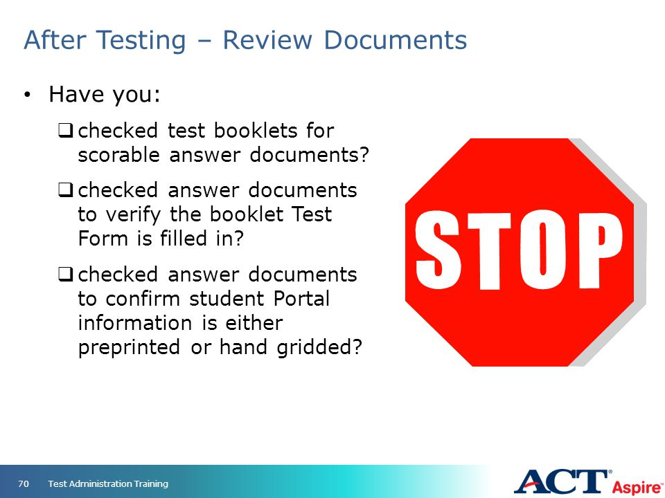 After Testing – Review Documents