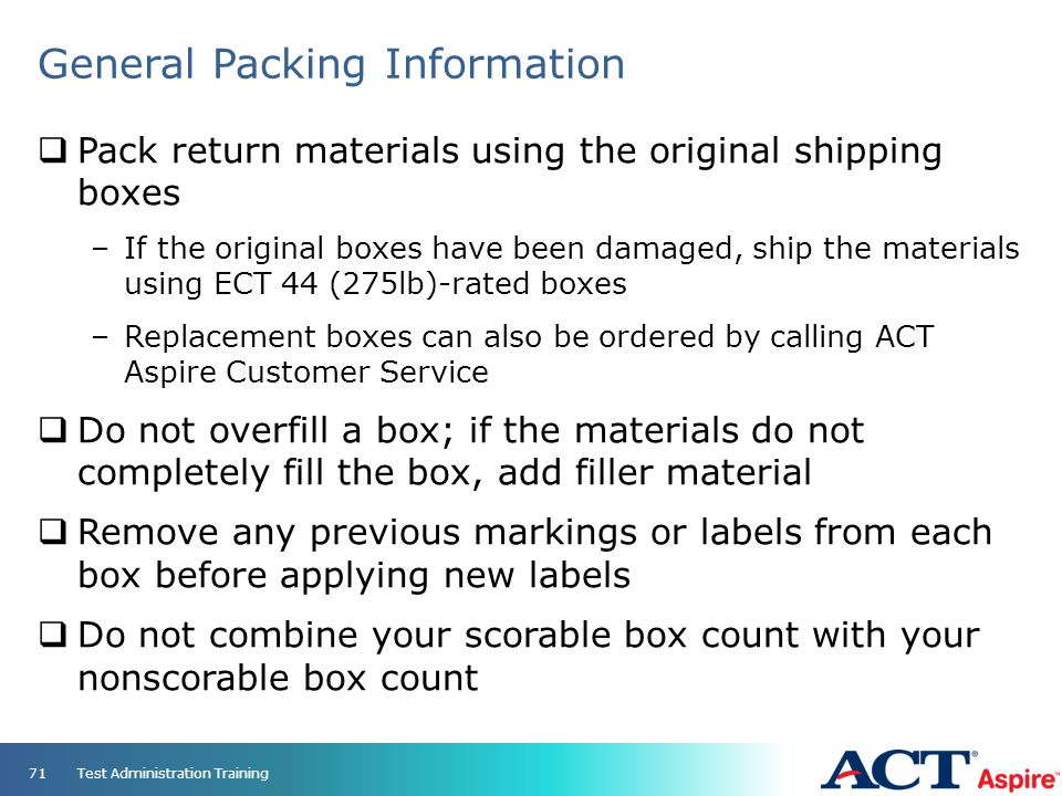 General Packing Information