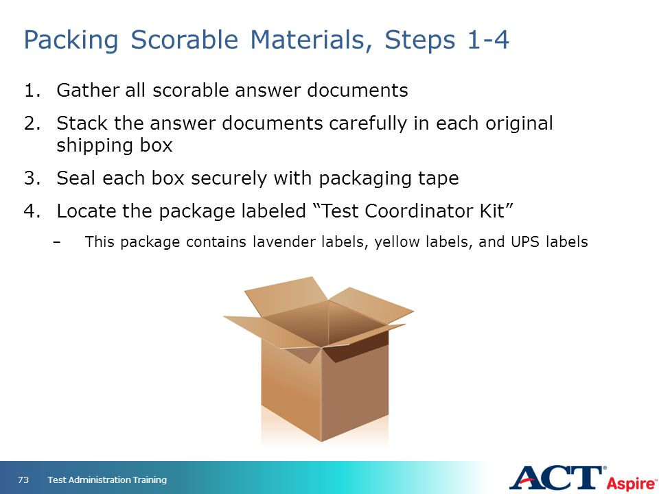 Packing Scorable Materials, Steps 1-4