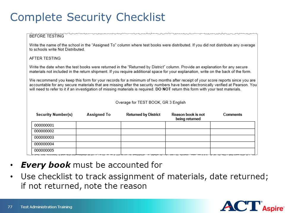 Complete Security Checklist