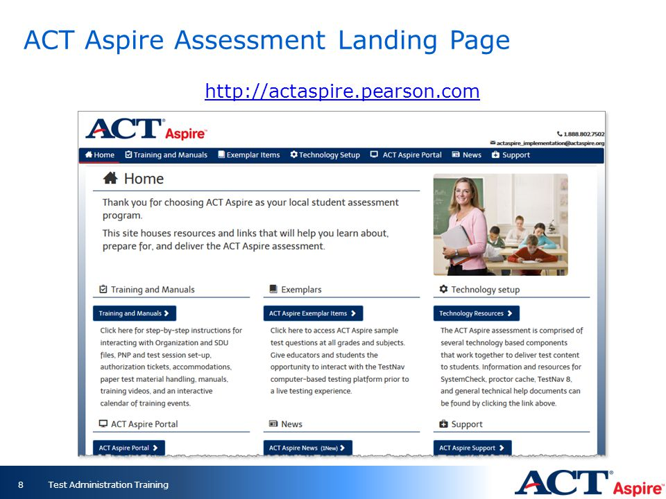 ACT Aspire Assessment Landing Page